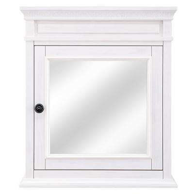 Cailla 24 in. W x 28 in. H Mirrored Wall Cabinet in White Wash