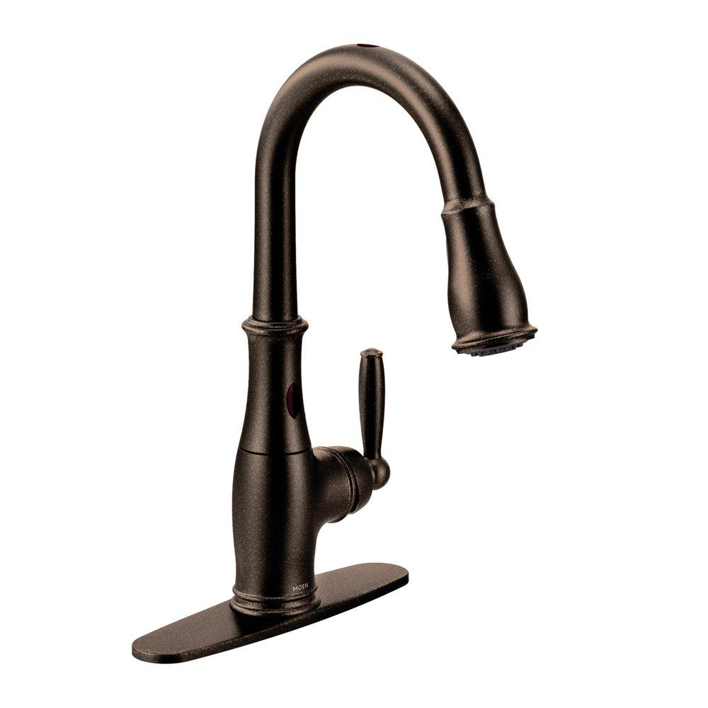 MOEN Brantford SingleHandle PullDown Sprayer Touchless Kitchen - Oil rubbed bronze pull down kitchen faucet