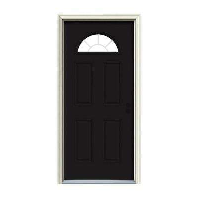 36 in. x 80 in. Fan Lite Black Painted Steel Prehung Left-Hand Inswing Front Door w/Brickmould