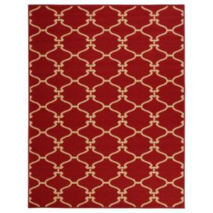 clifton collection moroccan trellis design red 5 ft x 6 ft 6 in