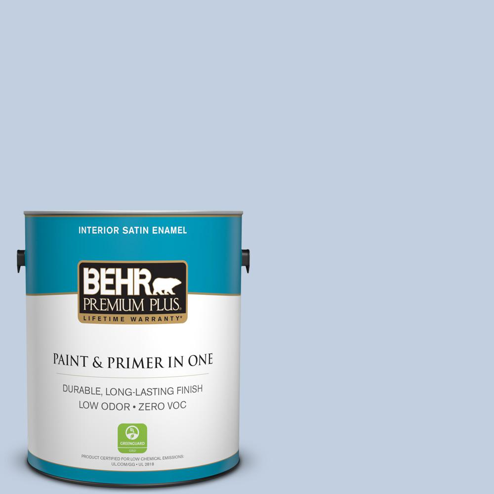 1 gal. #580E-2 Saltwater Satin Enamel Zero VOC Interior Paint and