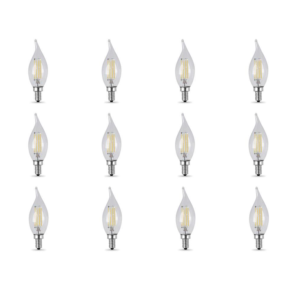 60-Watt Equivalent (5000K) CA10 Candelabra Dimmable Filament LED Clear Glass