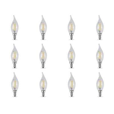 60-Watt Equivalent CA10 Candelabra Dimmable Filament Clear Glass Chandelier LED Light Bulb, Daylight (12-Pack)