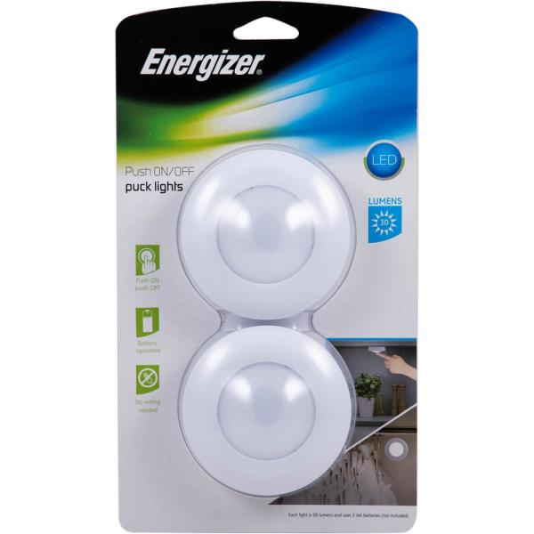 Energizer Push On Off Led Puck Lights 2 Pack 42261 The Home Depot