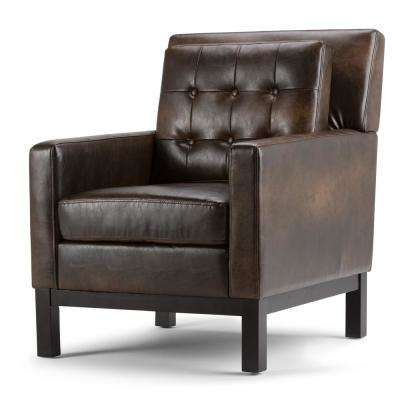 Carrigan Distressed Brown Bonded Leather Club Arm Chair
