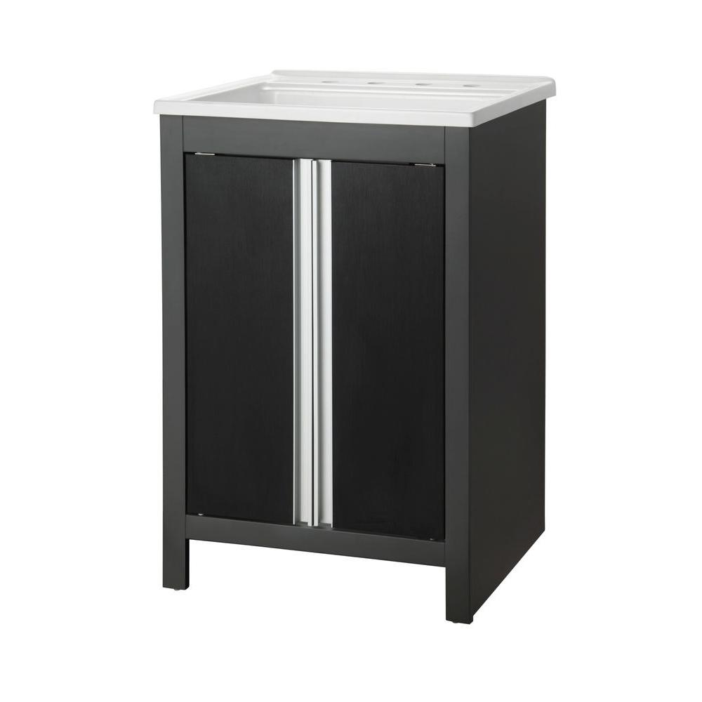 Foremost Rockford 24 in. W x 22 in. D Laundry Vanity in Iron Gray with Acrylic top in White-DISCONTINUED