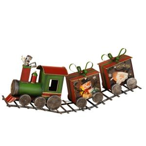 28 inch L Green Metal Holiday Train