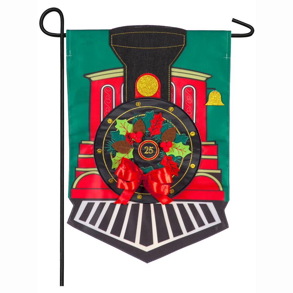 Evergreen 18 in. x 12.5 in. Christmas Train Garden Applique Flag