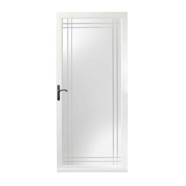 36 in. x 80 in. 3000 Series White Left-Hand Fullview Etched Glass Storm Door with Oil-Rubbed Bronze Hardware