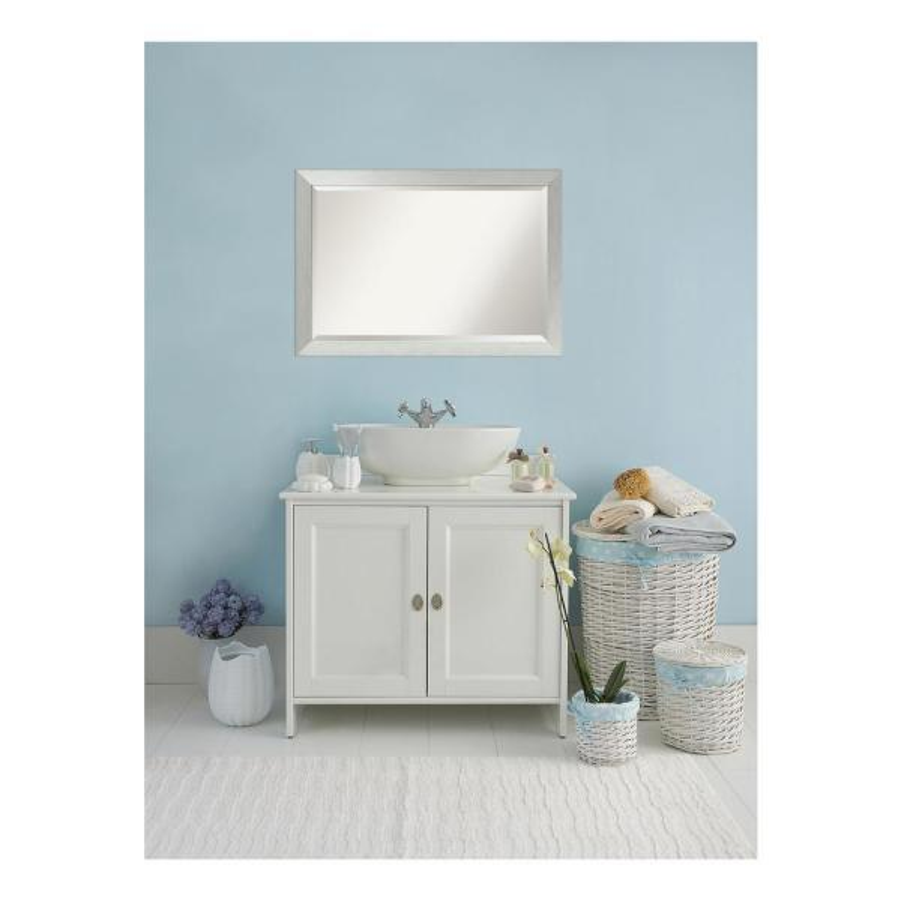 Sterling 40 in. W x 28 in. H Framed Rectangular Beveled Edge Bathroom Vanity Mirror in Brushed Silver