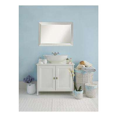 Sterling Brushed Silver Wood 40 in. W x 28 in. H Single Contemporary Bathroom Vanity Mirror
