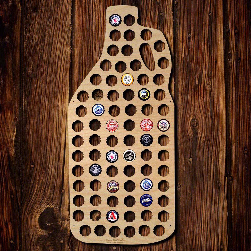 11 in. x 24 in. Wooden Growler Beer Cap Map