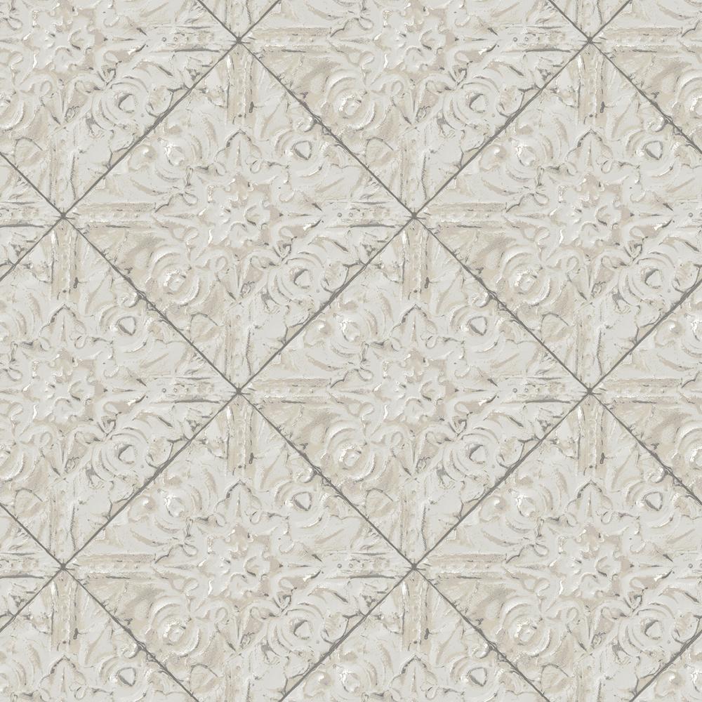 Evelina Light Blue Brandi Tin Tile Paper Wet Strippable Wallpaper Roll Covers 56 4 Sq Ft Br2904 13092 The Home Depot