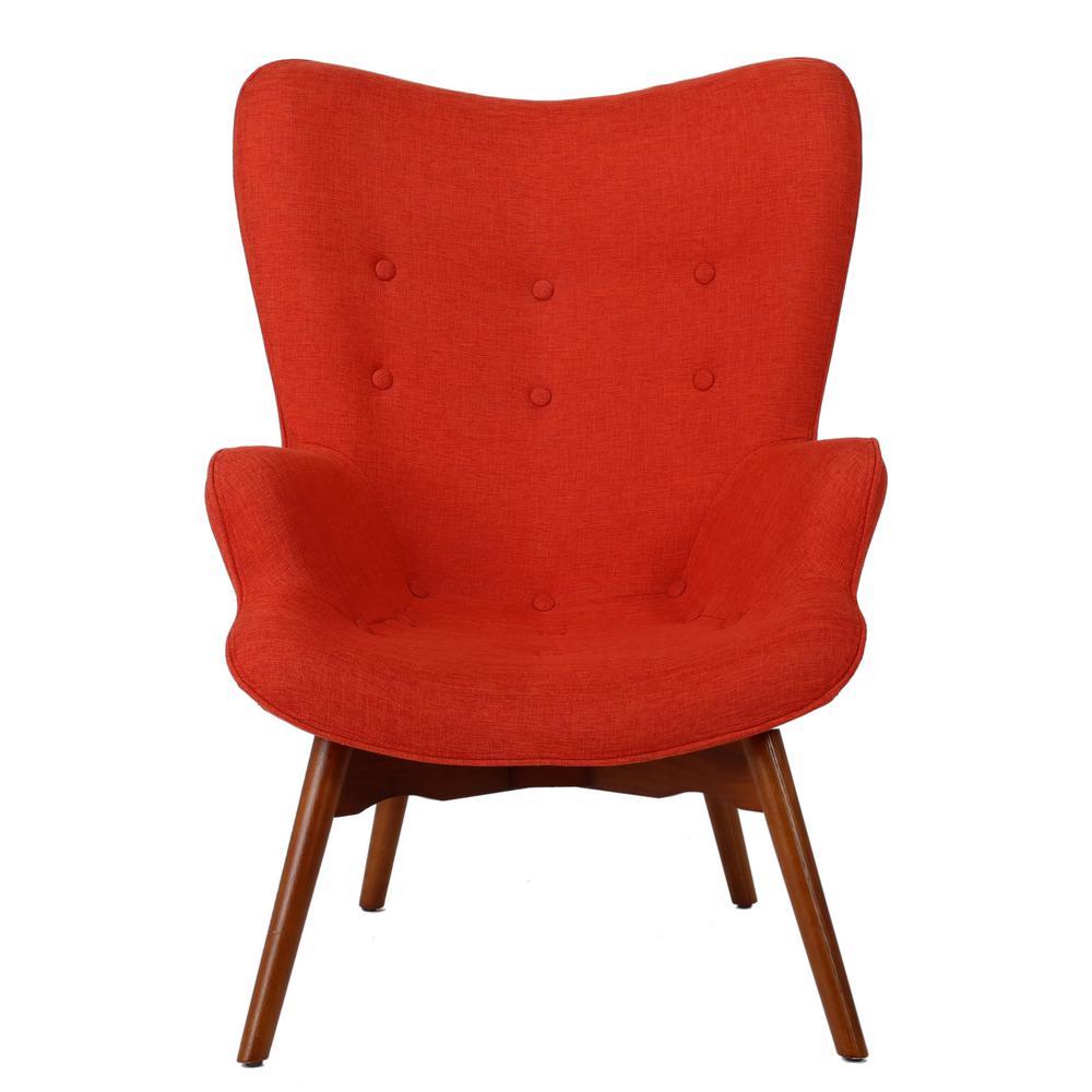 Hariata Muted Orange Fabric Contour Chair