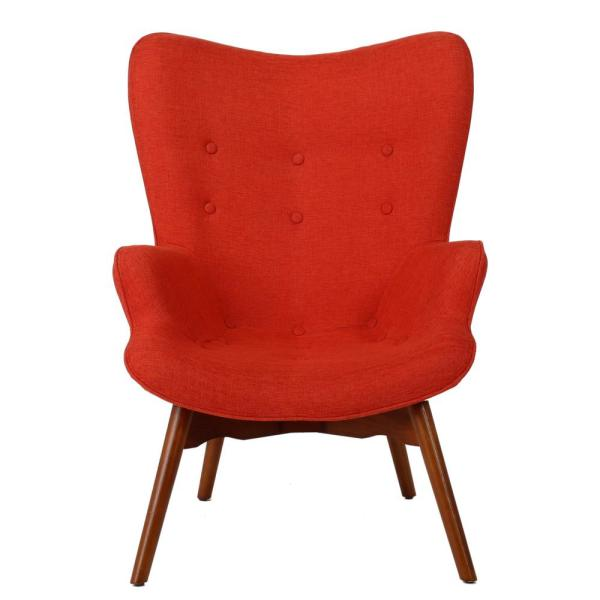 Hariata Muted Orange Fabric Contour Chair