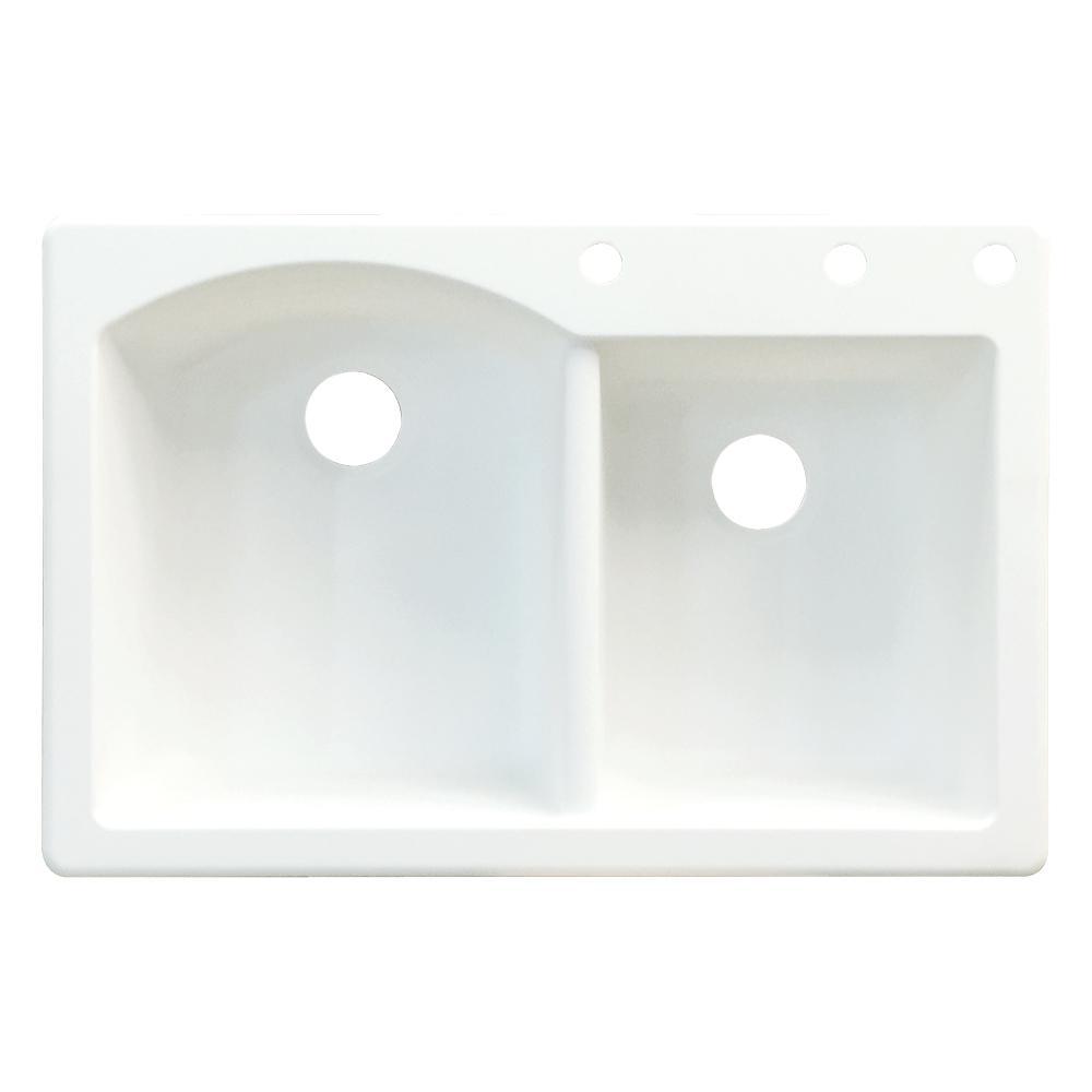 transolid aversa drop in granite 33 in  3 hole 1 3 4 d shape double bowl kitchen sink in white atdd3322 01 bde   the home depot transolid aversa drop in granite 33 in  3 hole 1 3 4 d shape      rh   homedepot com