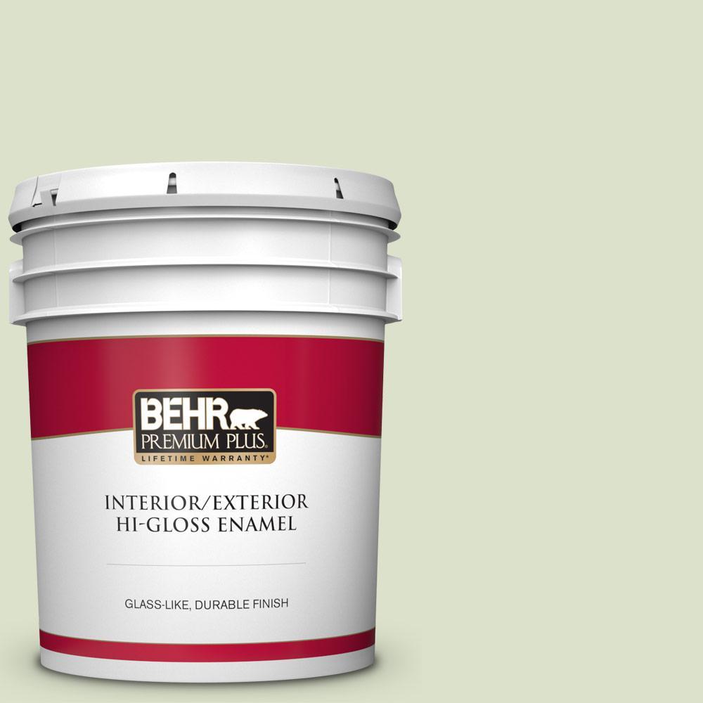 Behr Premium Plus 5 Gal 420e 2 Palm Breeze Hi Gloss Enamel Interior Exterior Paint 805005 The Home Depot