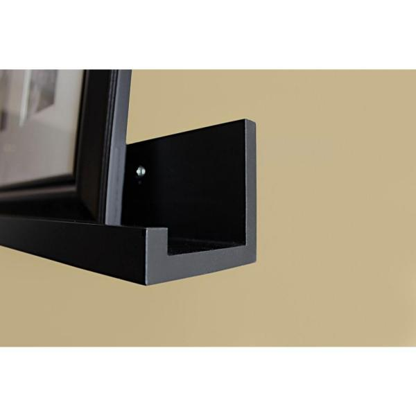 inPlace - 60 in. W x 4.5 in. D x 3.5 in. H Black MDF Large Picture Ledge Floating Wall Shelf