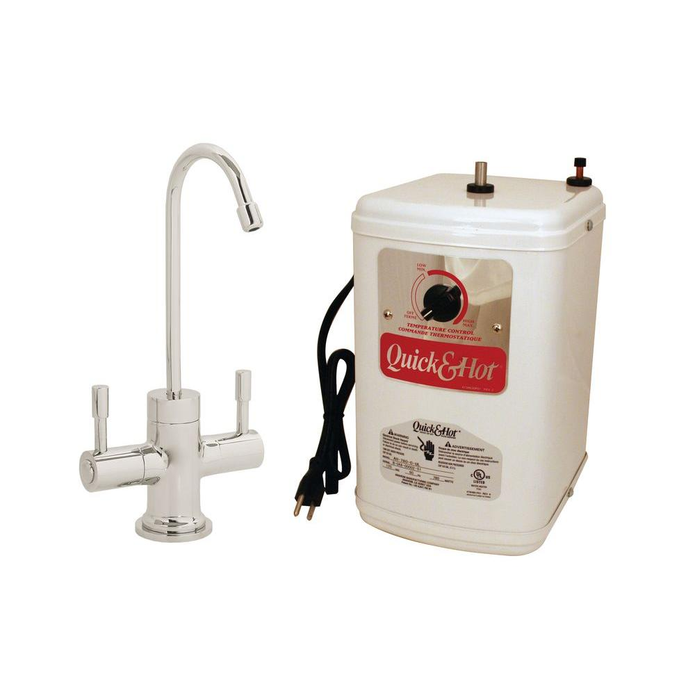 Westbrass 2-Handle Hot Water Dispenser Faucet with Hot Water Tank in Satin Nickel