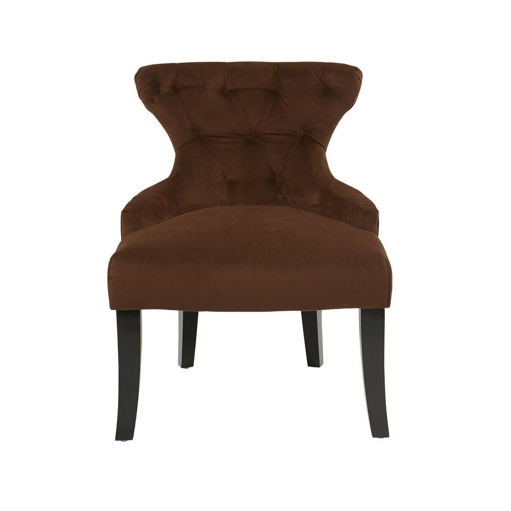 Avenue Six Curves Chocolate Velvet Accent Chair