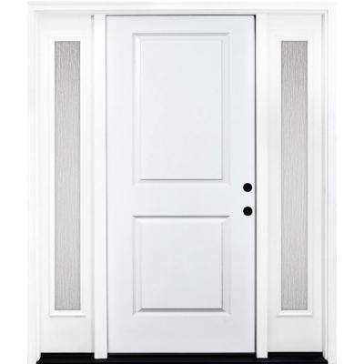 64 in. x 80 in. Classic 2-Panel LHIS Primed White Steel Prehung Front Door with Double 12 in. Rain Glass Sidelites