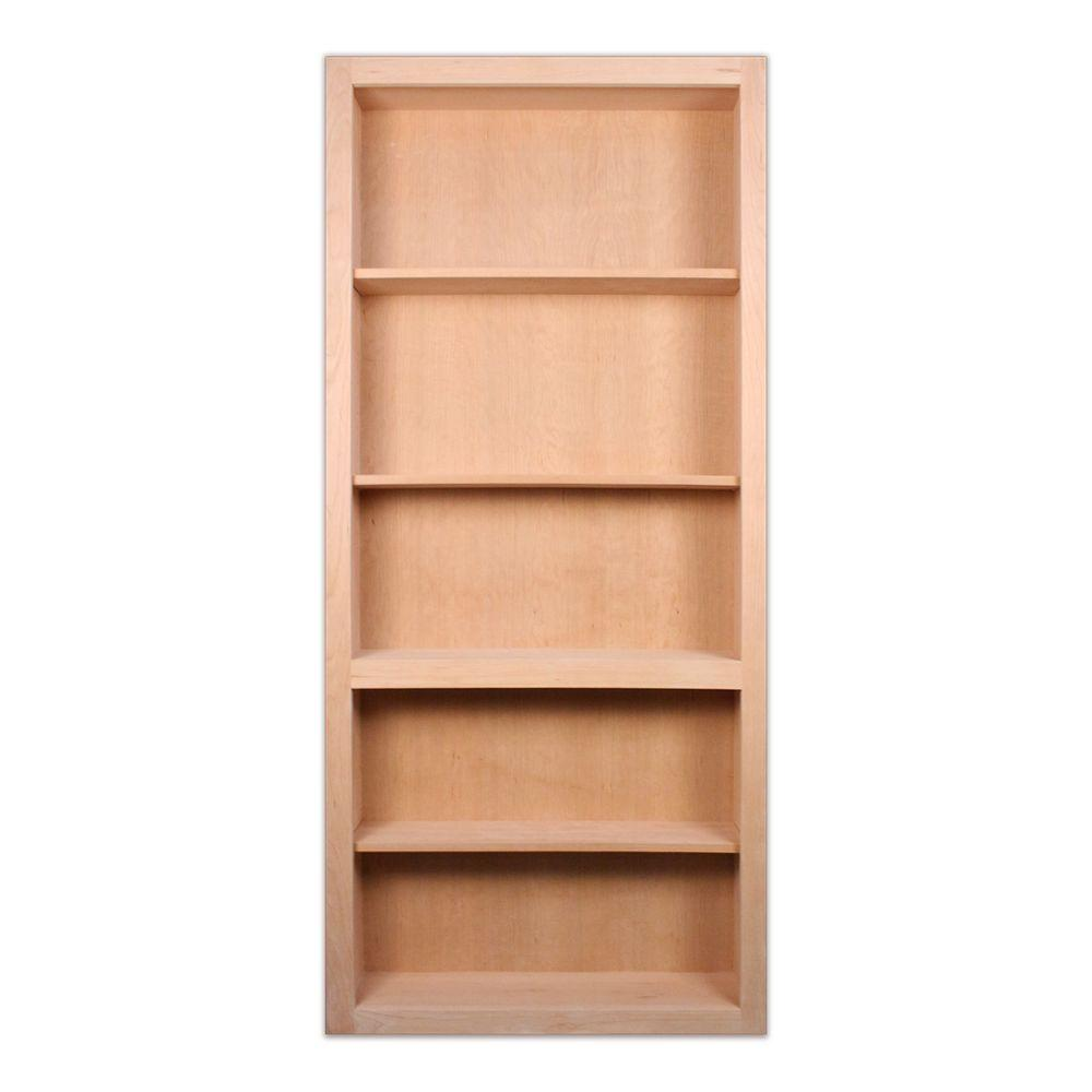 32 in. x 80 in. Unfinished Cherry 4-Shelf Bookcase Interior Door