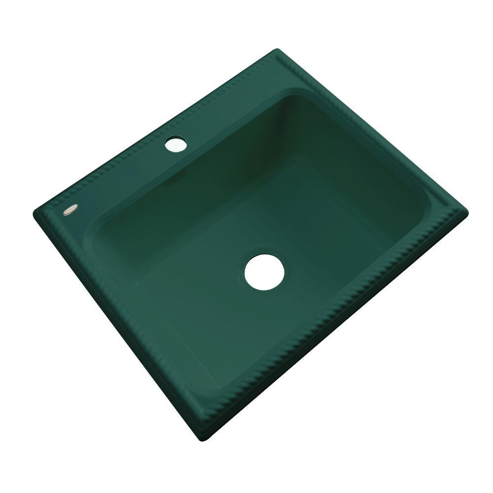 Thermocast Wentworth Drop-In Acrylic 25 in. 1-Hole Single Bowl Kitchen Sink in Rain Forest