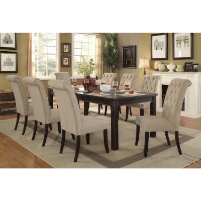 Sania I 84 in. Antique Black Rustic Style Dining Table