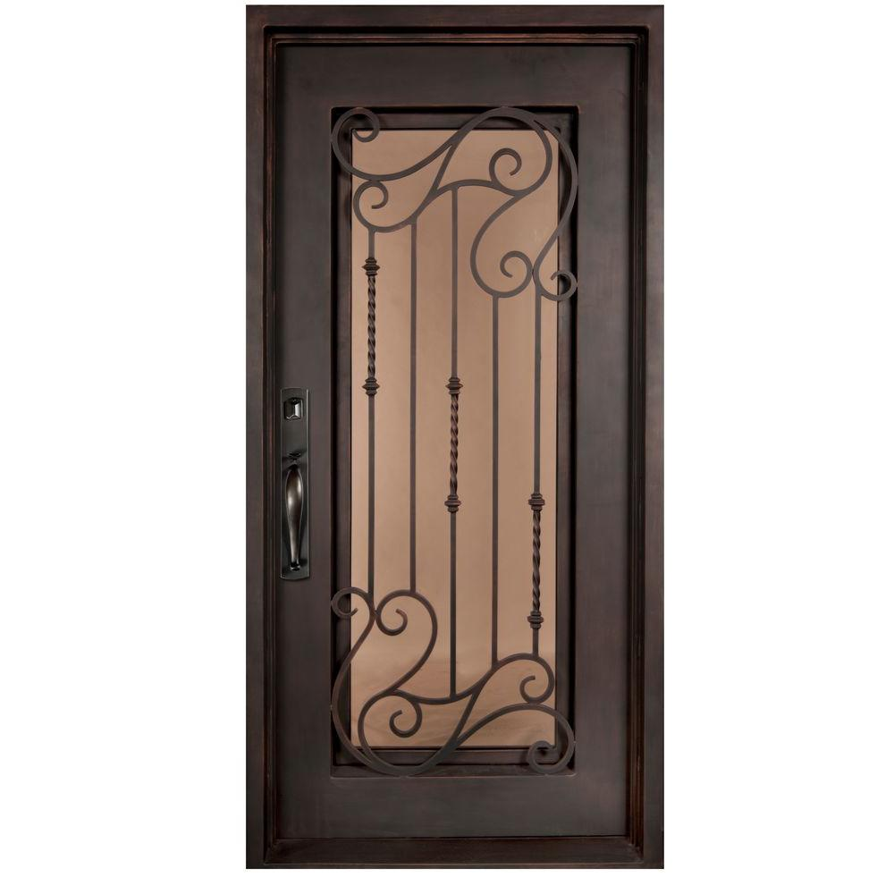 Iron Doors Unlimited 40 in. x 98 in. Armonia Classic Full Lite Painted Oil Rubbed Bronze Tinted Wrought Iron Prehung Front Door