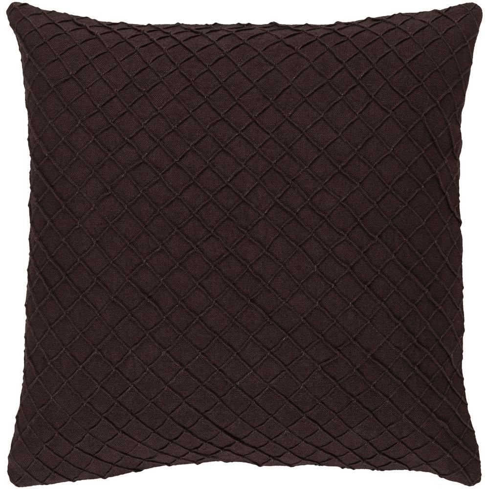 Gorleston Dark Brown Solid Polyester 18 in. x 18 in. Throw Pillow