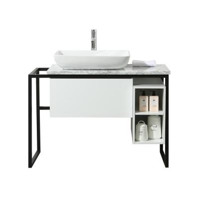 Icelander 43 in. Bath Vanity in White with Marble Vanity Top in White with White Basin