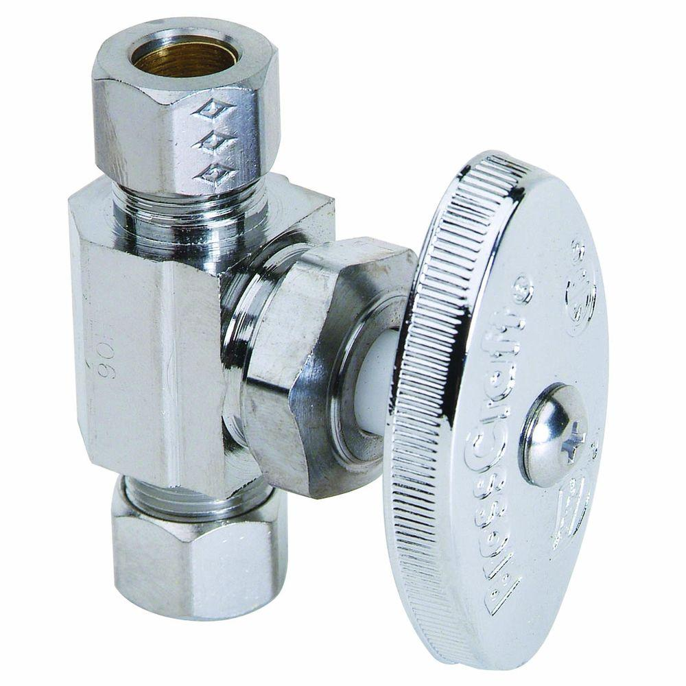 BrassCraft 1/4 in. Nominal Compression Inlet x 3/8 in. O.D. Compression Outlet Multi-Turn Straight Valve