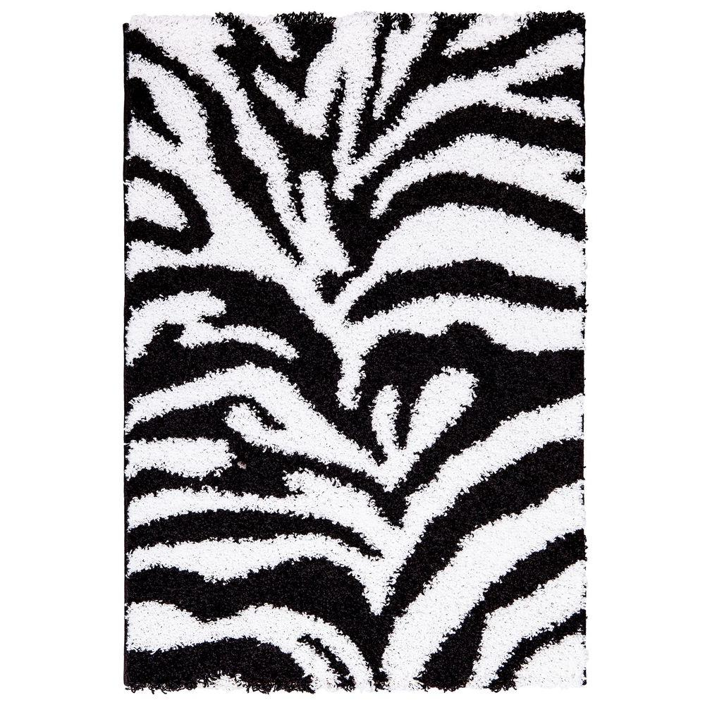 Image of: Zebra Pattern Ultimate Shaggy Animal Print Zebra Design White And Black Ft Ft Area Rug Home Depot Ottomanson Ultimate Shaggy Animal Print Zebra Design White And Black