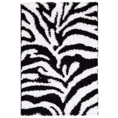 Ultimate shaggy animal print zebra design white and black 5 ft x 7 ft