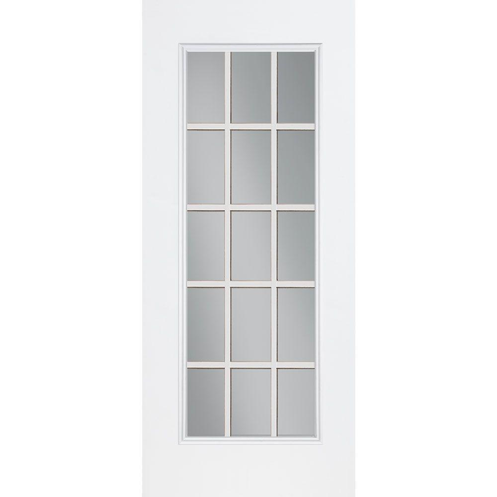 null 32 in. x 80 in. White 15 Lite Primed Steel Prehung Front Door with No Brickmold