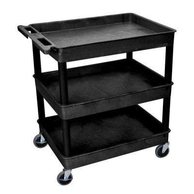 TC Series 24 in. W x 32 in. L 3-Tub Shelf Utility Cart, Black