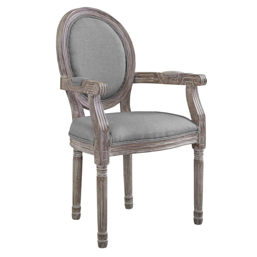 MODWAY Emanate Light Gray Vintage French Upholstered Fabric Dining Armchair - MODWAY Emanate Light Gray Vintage French Upholstered Fabric Dining