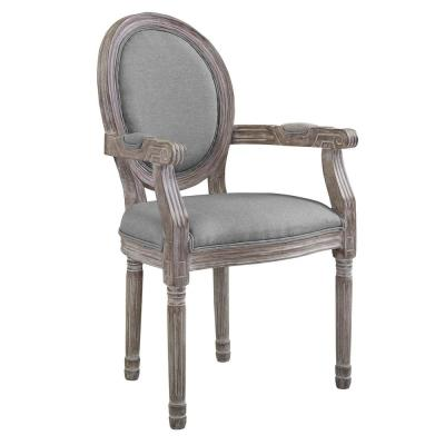 Emanate Light Gray Vintage French Upholstered Fabric Dining Armchair