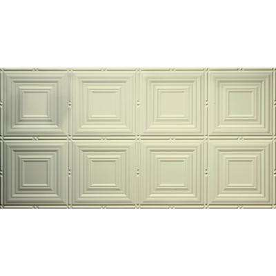 Dimensions Faux 2 ft. x 4 ft. Glue-Up Tin Style Creme Ceiling Tile for Surface Mount