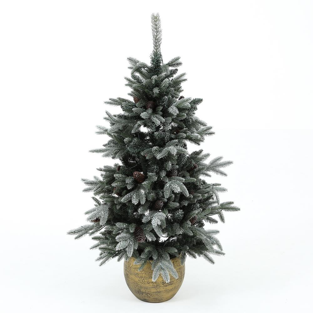 Winsome House 4.5 ft. Pre-Lit Flocked Porch Christmas Tree ...