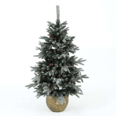 4.5 ft. Pre-Lit Flocked Porch Christmas Tree with Pinecones