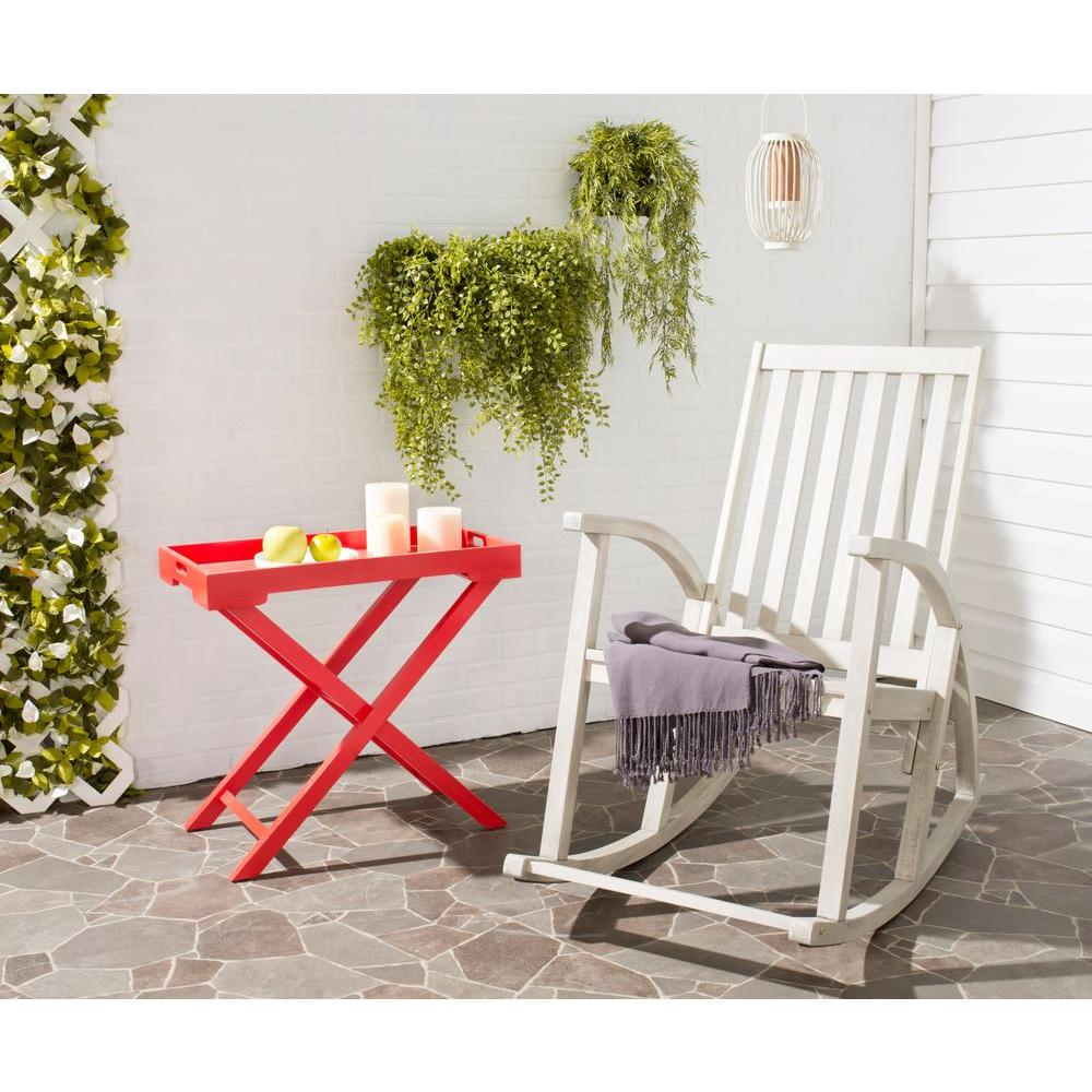 Outdoor Rocking Chair Patio Rocker White Washed Wood Frame Weather