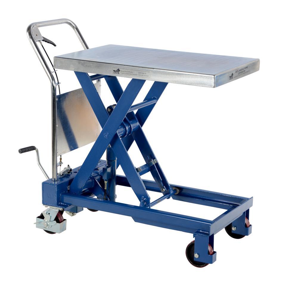 1,000 lb. 32 in. x 19.75 in. Hydraulic Single Scissor Cart
