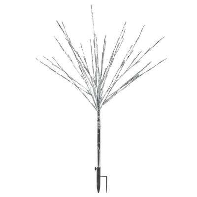 39 in. Silver Taped Bush Lighting Decor with Multi-Colored LEDs