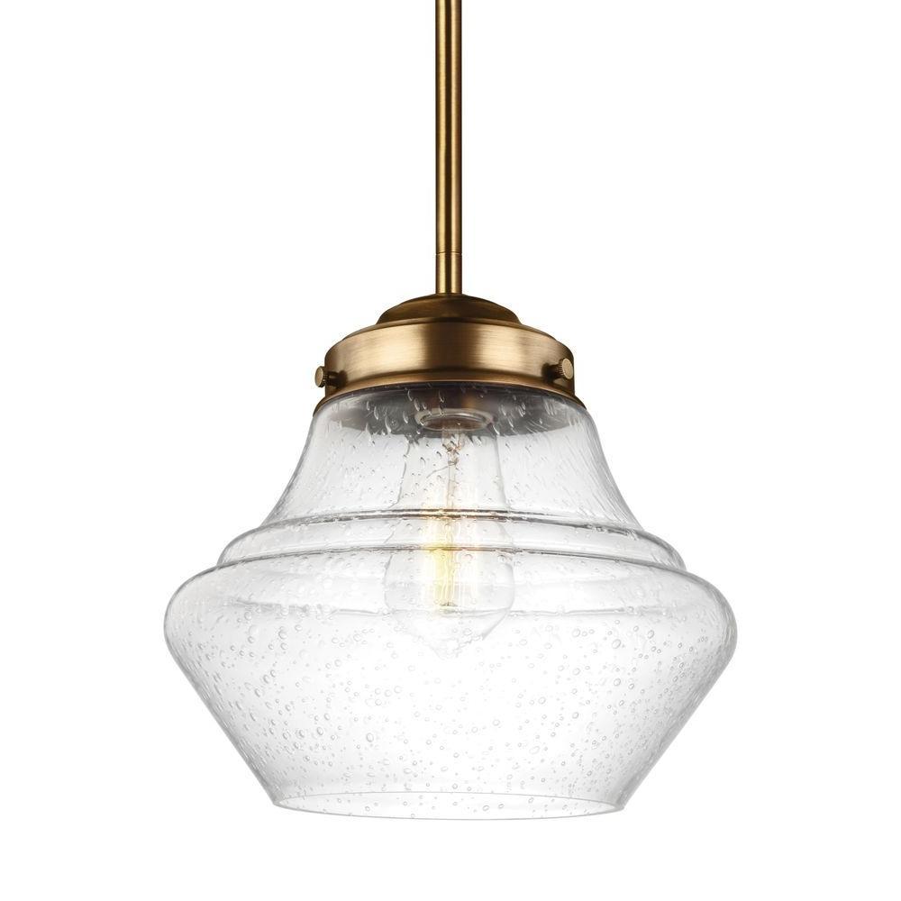 Schoolhouse Pendant Track Lighting: Feiss Alcott 1-Light Aged Brass Pendant-P1405AGB