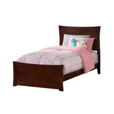 Metro Walnut Twin Traditional Bed with Matching Foot Board