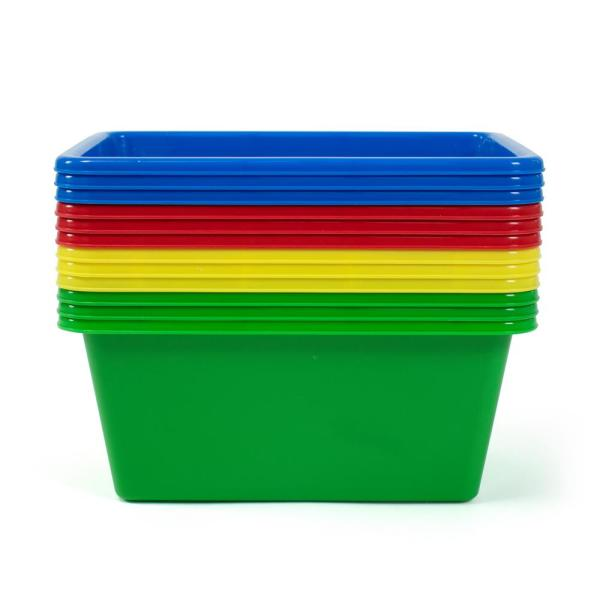 5.25 in. H Kid's Primary Colors Small Plastic Storage Bins (Set of 12)