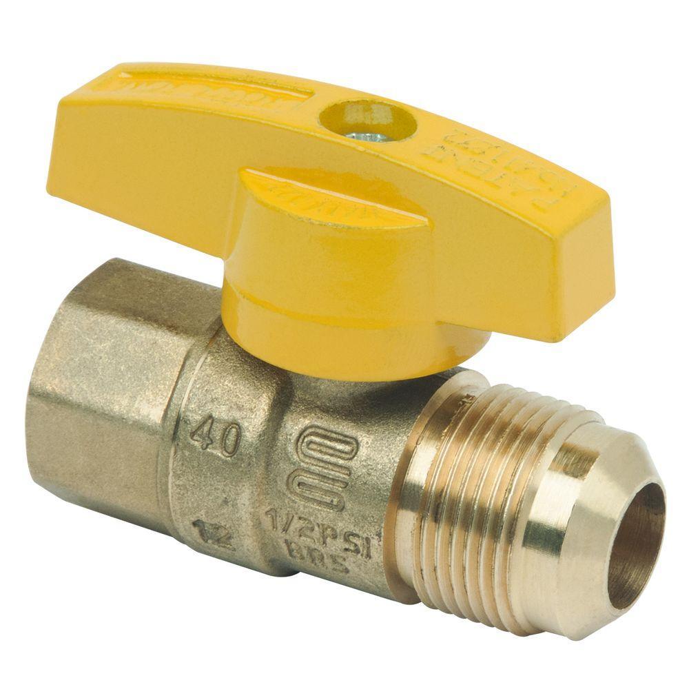 Brasscraft 5/8 inch O.D. Flare (15/16-16 Thread) x 1/2 inch FIP Gas Ball Valve by BrassCraft