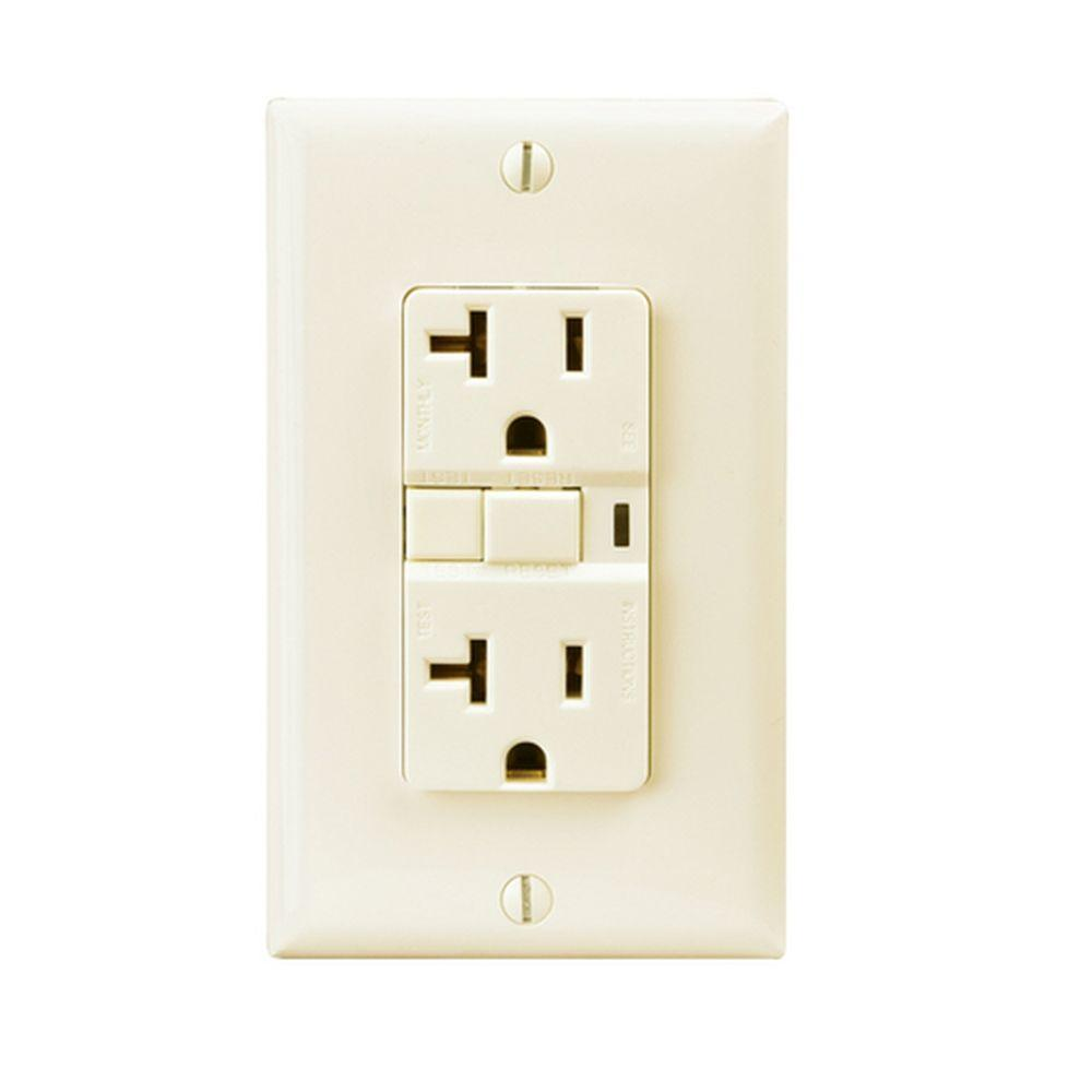 Eaton Specification Grade 20 Amp Decorator Duplex GFCI Receptacle with Back and Side Wiring - Light Almond