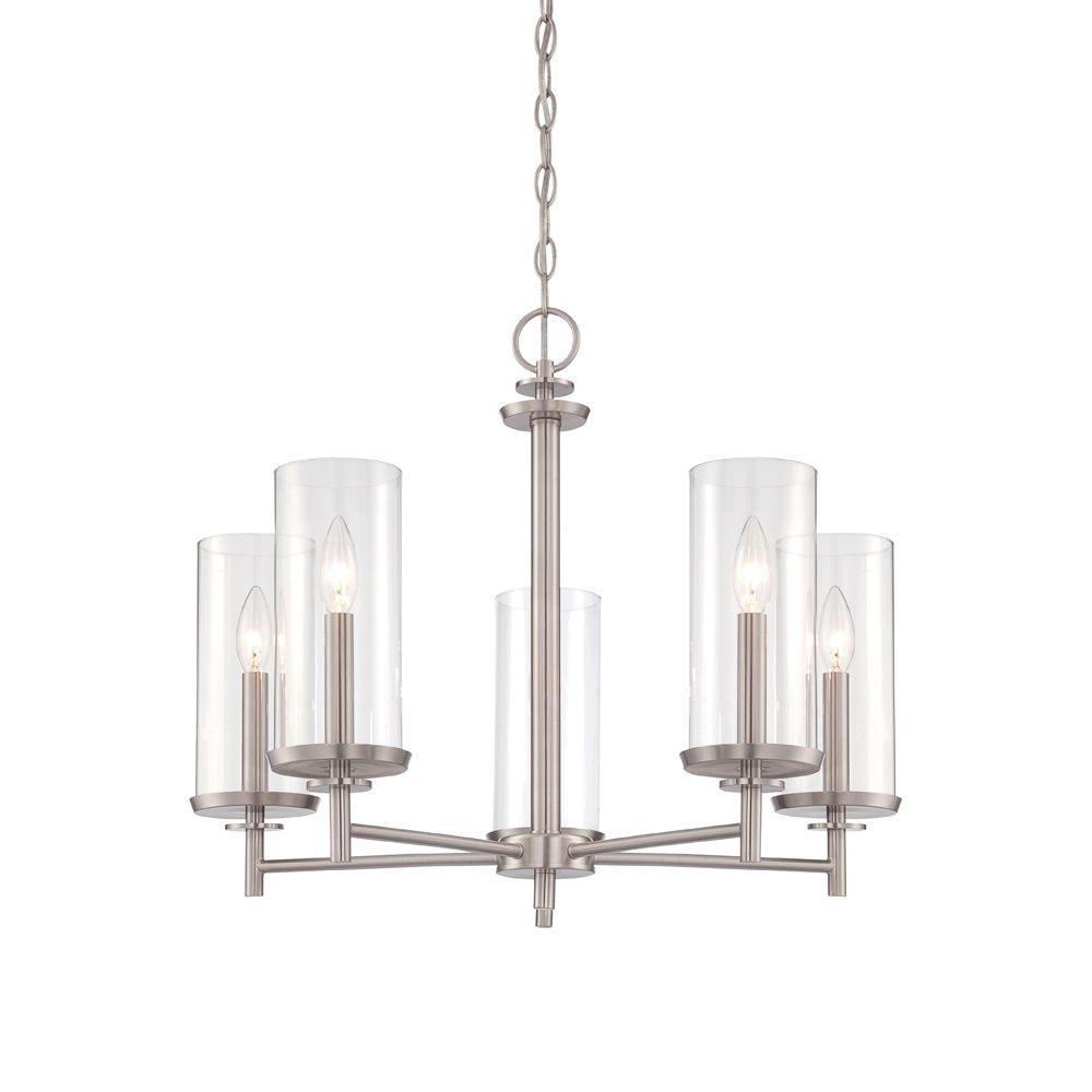 Harlowe 5-Light Satin Platinum Interior Incandescent Chandelier